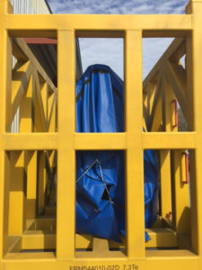 Tarp covered equipment for shipping