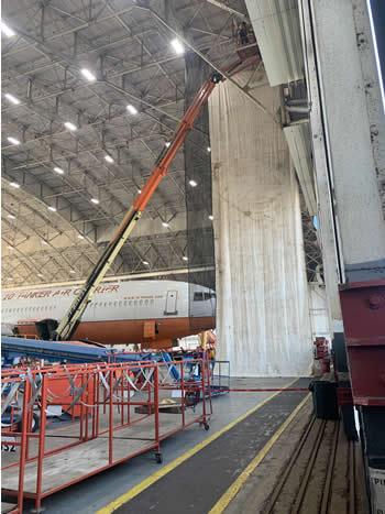 Custom Industrial Curtain in airplane hanger